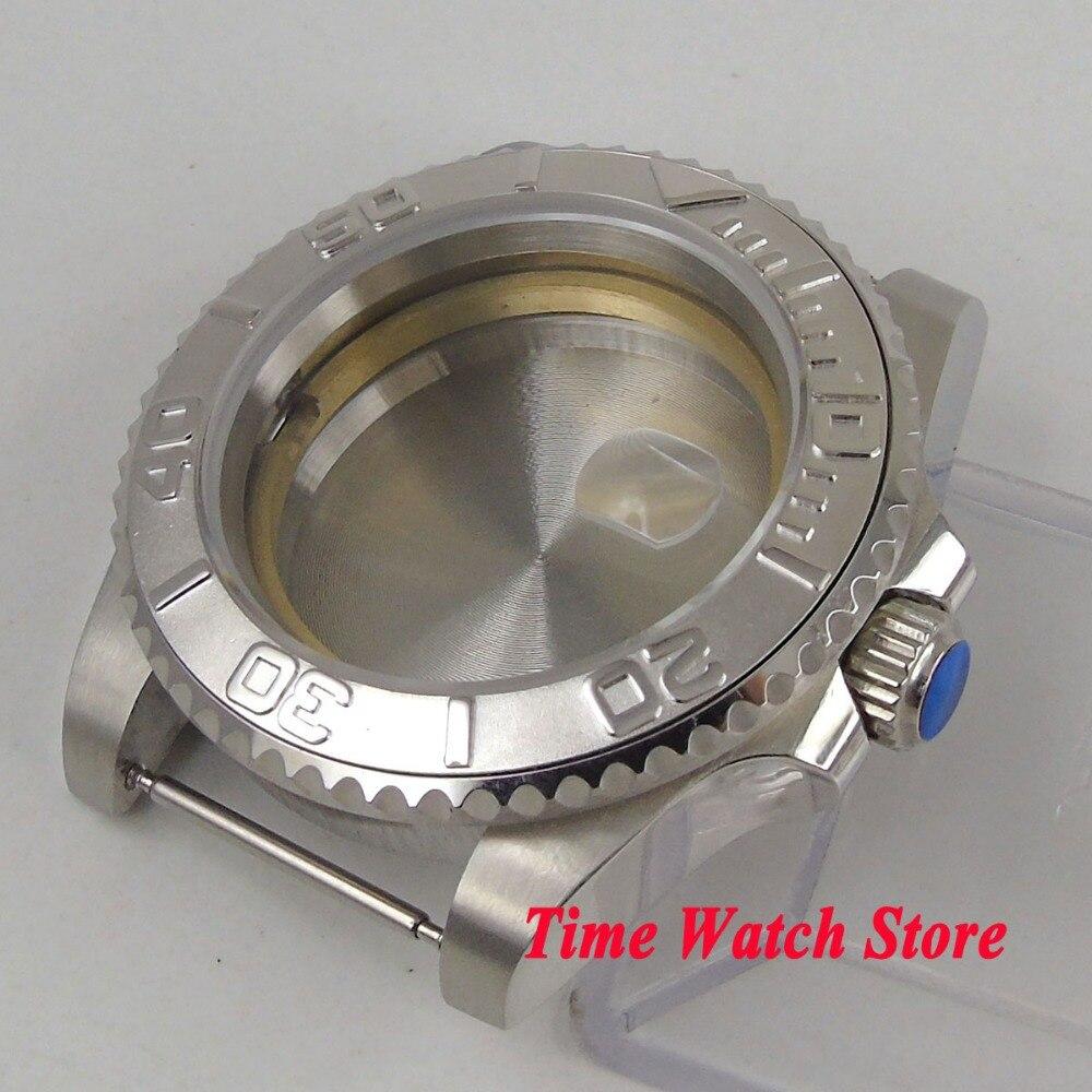40mm de cristal de zafiro bisel de cerámica 316L reloj de acero inoxidable funda ETA 2836 movimiento Mingzhu 2813 MIYOTA 8215 C19-in Esferas de reloj from Relojes de pulsera    3