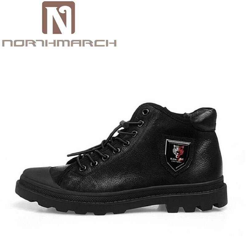 NORTHMARCH Genuine Leather Black Men Shoes Brand Design Autumn Winter Men Boots Cow leather Lace-up Boots Men Botas Militares z suo brand autumn winter men s genuine leather tooling boots lace up brush off cow leather handmade men ankle boots