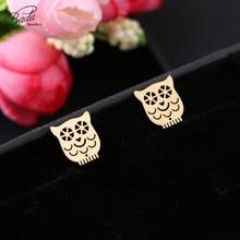 Badu 2018 Fashion Minimalist Golden and Silver Stainless Steel Animal Cute Stud Earrings Jewlery for Women Gift