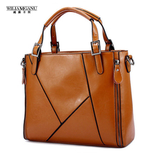 WILIAMGANU Fashion Patchwork Designer Cattle Split Leather Bags Women Handbag Brand High Quality Ladies Shoulder Bags Women Bags