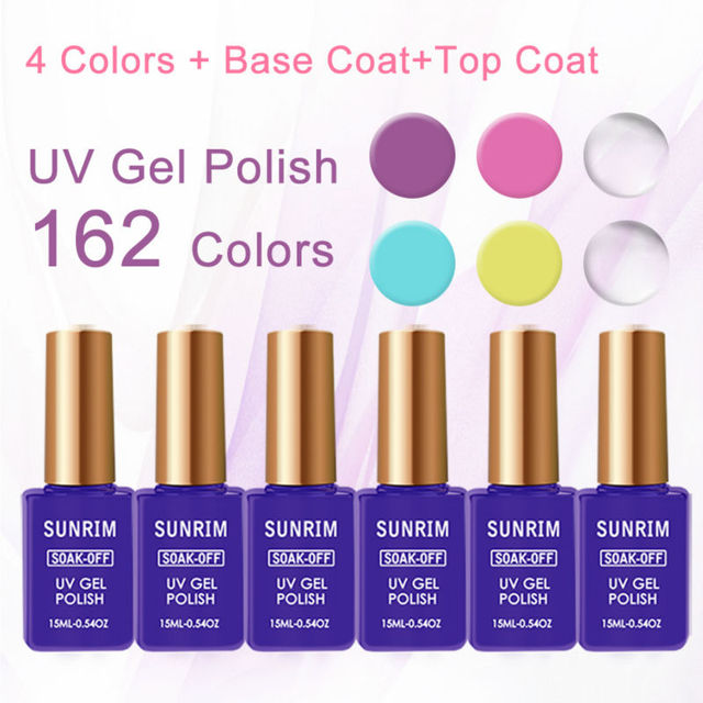6pcs/lot Sunrim Primer for in Gel Nail Lacquer with the Top and Base 15ml Manicure Set Gel Varnish Nail Polish Set of Nail Gel