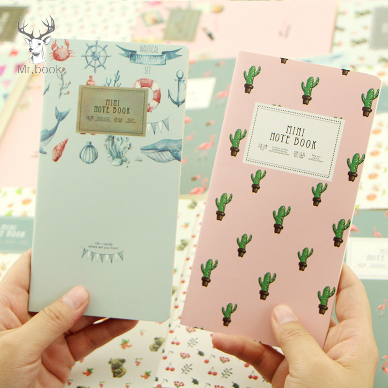 48 Page Cactus Flamingo Cherry Planner Notebook Marine Style Month Plan Notebook School Office Supply Student Stationery Notepad