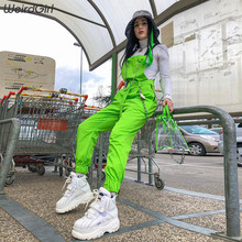 Weirdgirl women bodysuits shoulder straps belt pocket solid green jumpsuits romper femme pants streetwear fashion casual new