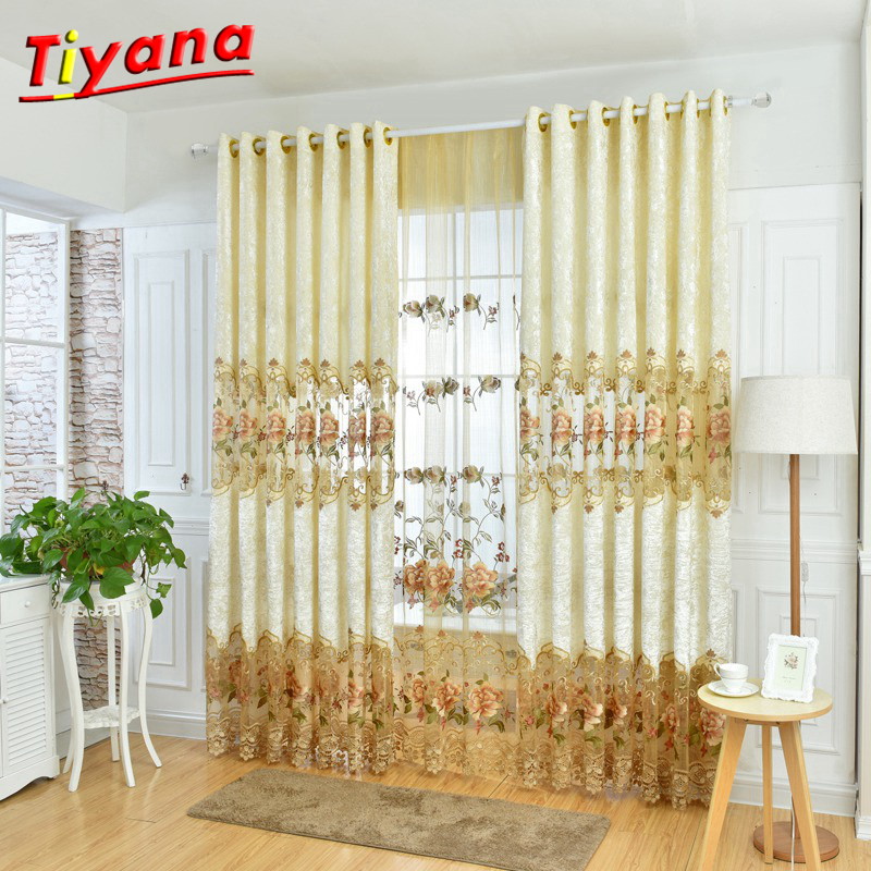 Huayin Velvet Linen Curtains Tulle Window Curtain For: Ice Velvet Stitching Embroidery Curtain Cloth Tulle Luxury