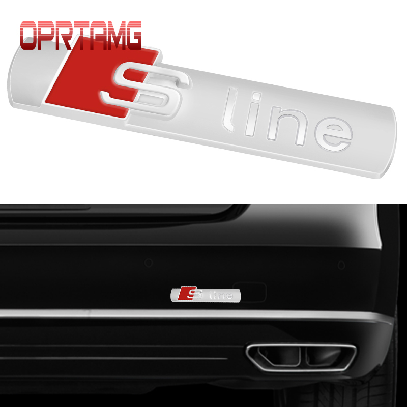 3D S Line Sline Car Front Grille Emblem Badge Stickers Accessories For Audi A1 A3 A4 B6 B8 B5 B7 A5 A6 C5 C6 A7 TT Car Styling