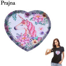 Prajna Unicorn Stickers Reversible Changing Color Sequins Patch Cartoon Decoration For Clothes DIY Iron On Patches Applique