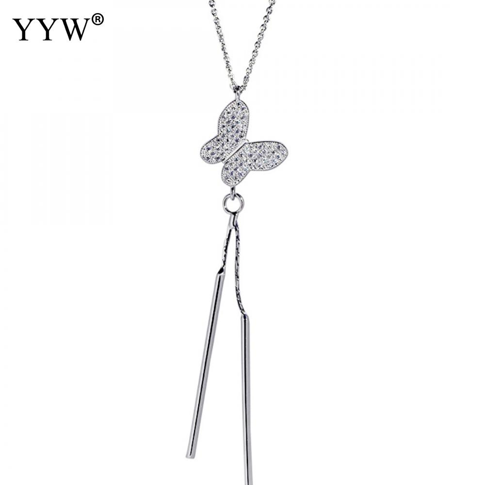 Fashion Butterfly Pendant Necklace Long Strip Jewelry for Women Dress Cloth Decoration Silver Color Necklace