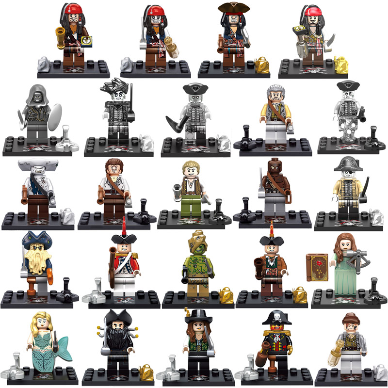 Pirates of the Caribbean Figure Captain Jack Sparrow Barbossa Salazar Will Carina Smyth Building Block Toy compatible with lego game of thrones house sigils
