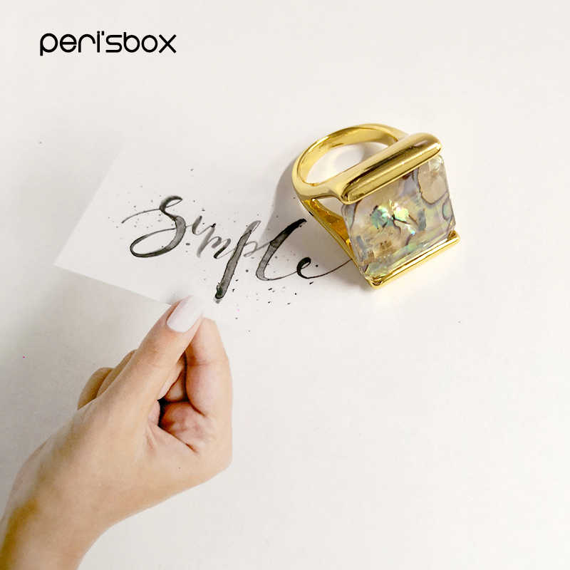 Peri'sBox Gold สี Abalone Shell ซ้อนแหวน Minimalist วงกลมแหวนออกแบบ Layering แหวน Femme
