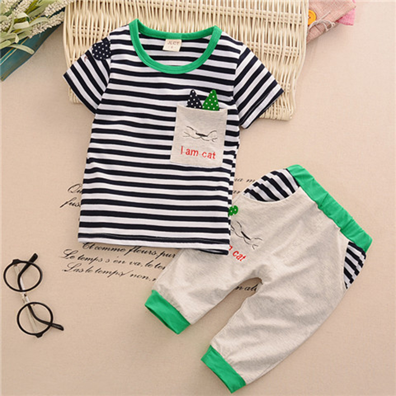 TOPSHOW 2018 summer childrens clothing baby boys girls cloth set short sleeve Striped little cat two pieces child kid cloth set