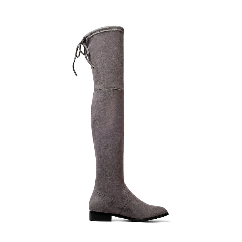 QUTAA 2020 Ladies Shoes Square Low Heel Women Over The Knee Boots Scrub Black Pointed Toe Woman Motorcycle Boots Size 34-43