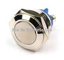 16 мм антивандальный мгновенный металлический кнопочный переключатель из нержавеющей стали с плоским верхом P