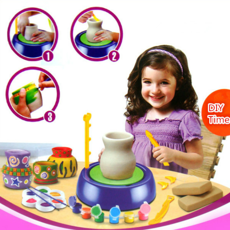 New Children Handicraft Art Toys Funny Hand Made Ceramic Pottery Wheel With DIY Clay Kits Pigment Device For Kids Gift