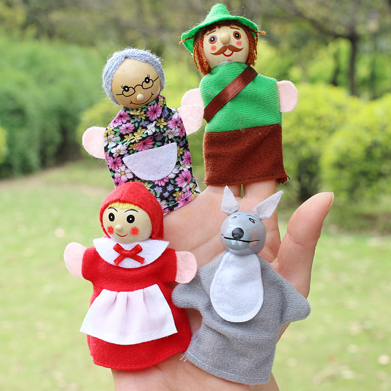 4pcsLot-Kids-Finger-Puppets-Doll-Plush-Toys-Cute-Little-Red-Riding-Hood-Wooden-Headed-Fairy-Tale-Story-Telling-Hand-Puppets-1