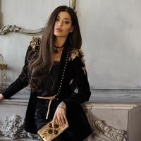 2018 Fashion Black Long Sleeve Women Suit High Quality Elegant Celebrity Evening Party Jackets Outerwear Autumn Coats Wholesale