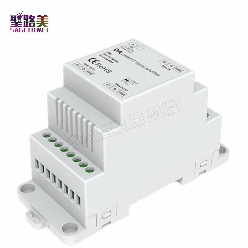 DIN Rail DMX 512 Signal Amplifier DC5V 12V 24V input DMX Amplifier 1CH input 2CH output for led strip light DMX signal extender