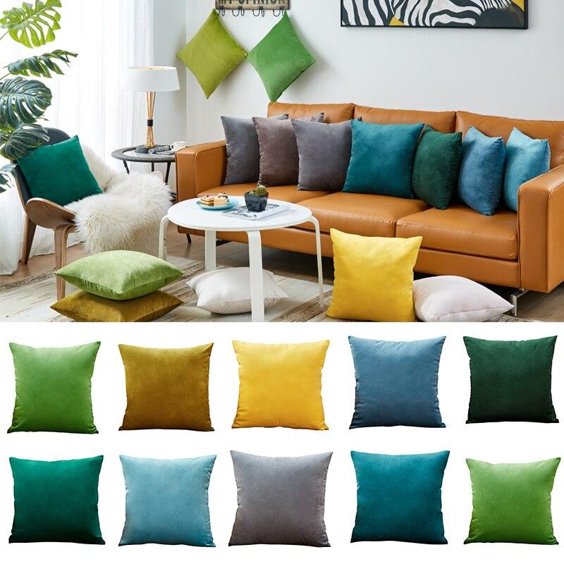 26colors Pillow Cover Velvet Cushion Cover For Living Room Sofa 45*45 Kussenhoes Blue Home Decorative Housse De Coussin