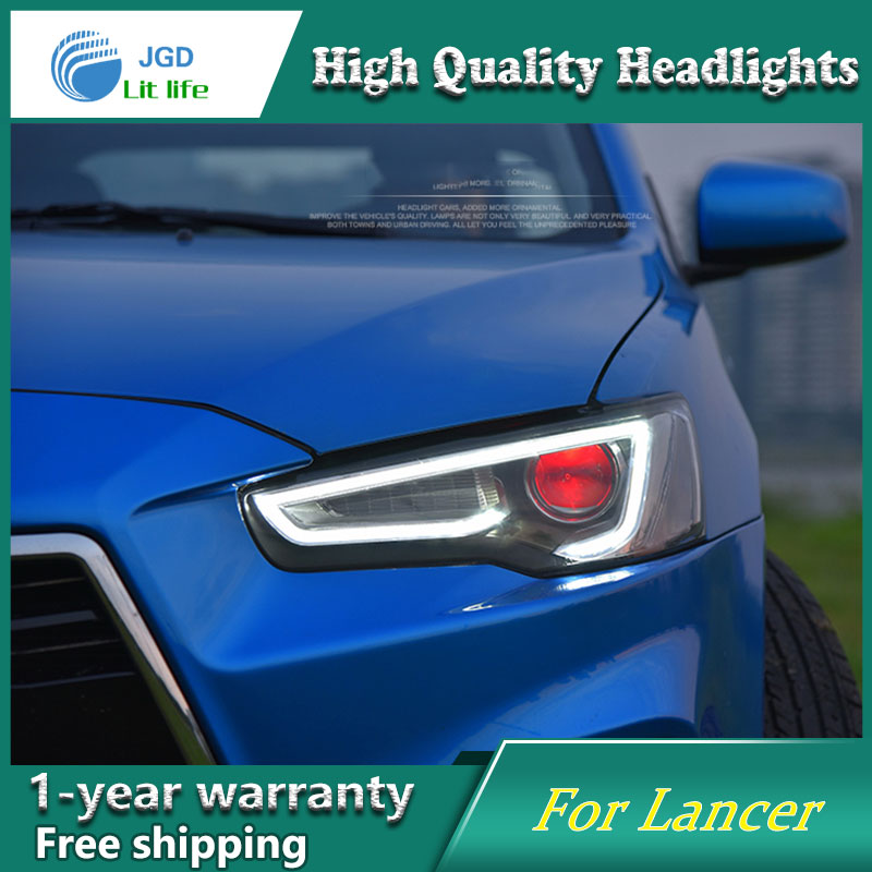 Car Styling Head Lamp case for Mitsubishi Lancer Headlight 2009-2016 Sentra LED Headlights DRL H7 D2H Hid Option Bi Xenon Beam free shipping for vland car styling head lamp for vw golf 7 headlights led drl led signal h7 d2h xenon beam