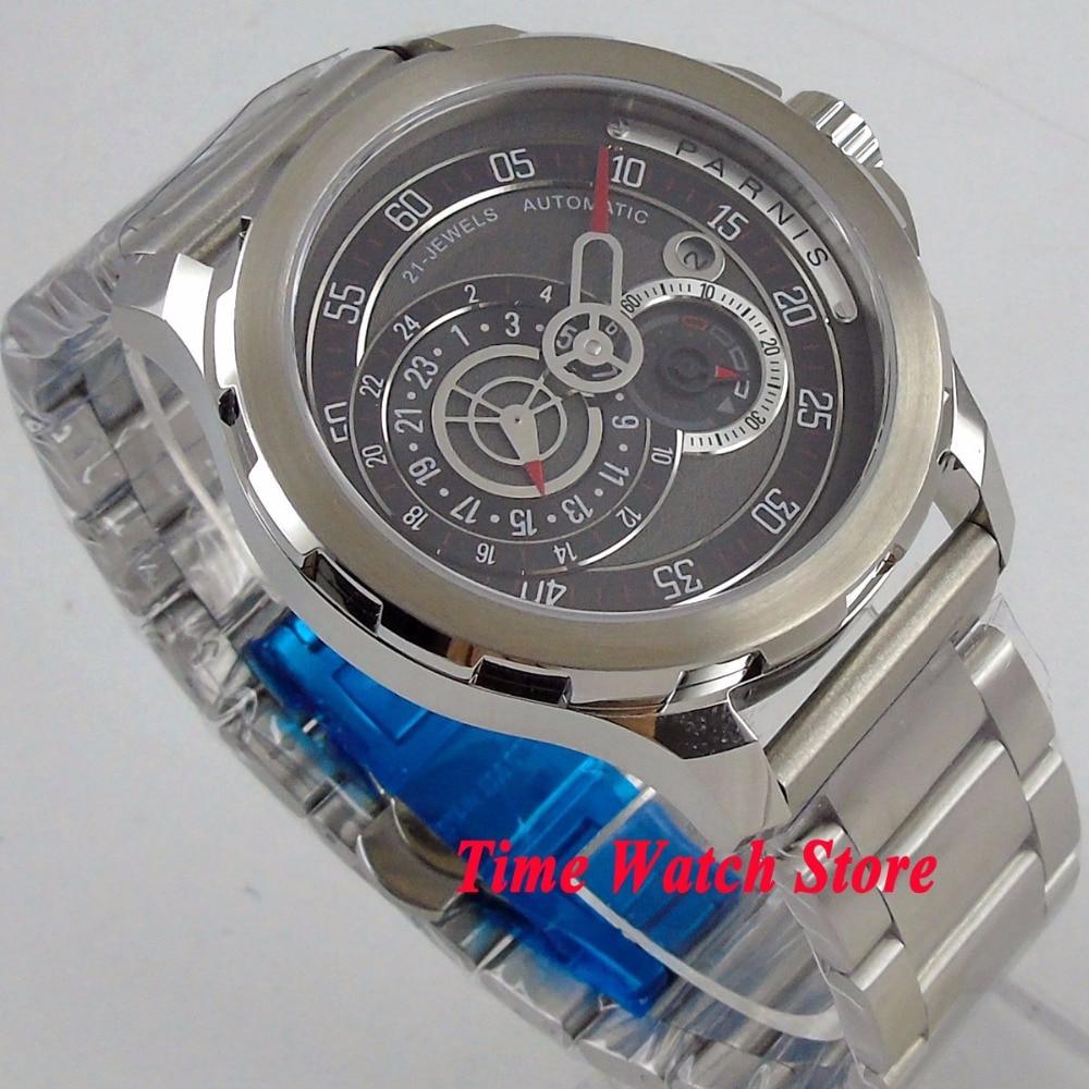 Vintage 44mm PARNIS waterproof steel bracelet black sapphire date 24 hours 21 jewels japan mechanical auto wrist watch men 1075