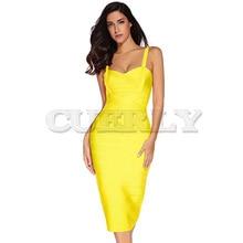 Cuerly 2019 New Women Midi calf Bandage Dress Sexy Celebrity Elastic Lady Spaghetti Strap Runway Club Bodycon Party Dresses