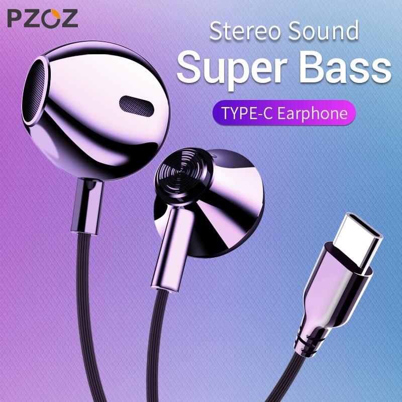 PZOZ USB C Controle de Graves No Ouvido do tipo c Tipo de Esporte Fone de Ouvido Fone de Ouvido Com Fio-C Jack Fones de Ouvido Com mi c para Xiao mi mi mi x 2 s 8 SE 6X A2
