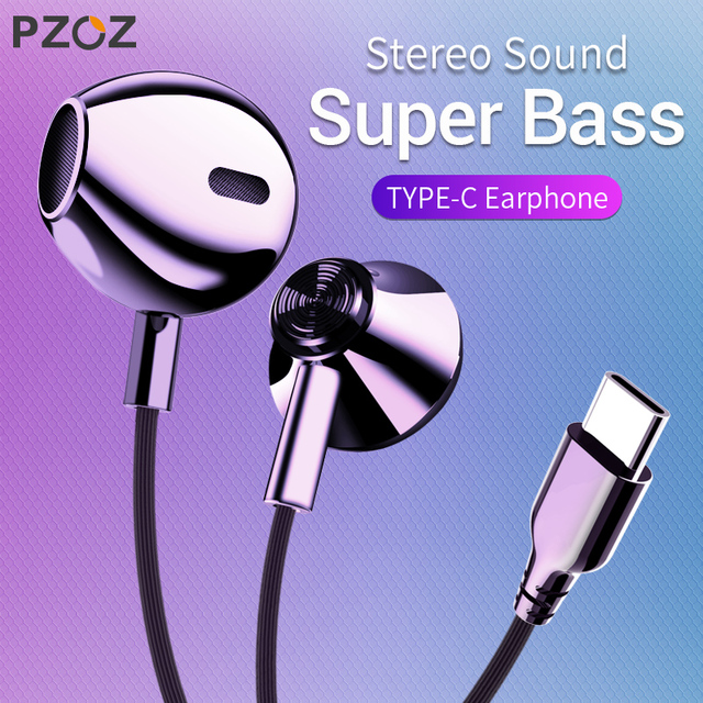 PZOZ USB C Earphone Wired Control Bass In-Ear type c Sport Headset Type-C Jack Headsets With Mic For Xiaomi Mi Mix 2s 8 SE 6X A2