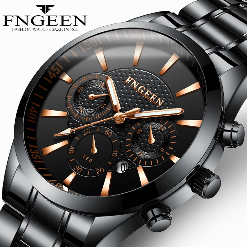 Men's Watch FNGEEN New Design Steel Waterproof Luminous Quartz Watch Date Clock Male Hodinky Fashion Luxury Black Wirstwatch Men цены