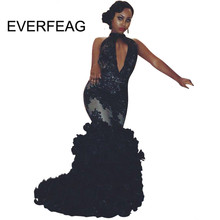 Sexy Black Mermaid Prom Dresses 2018 Halter Sleeveless Backless Lace Ruched  Ruffles Long African Black Girls Evening Gown 0f8efd92c444