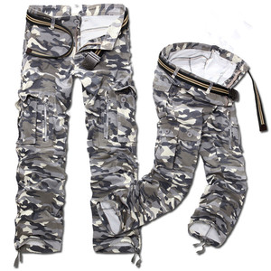 Image 4 - New Fashion Men Casual Military Cargo Pants Camo Combat Loose Straight Long Baggy camouflage Trousers Plus Size