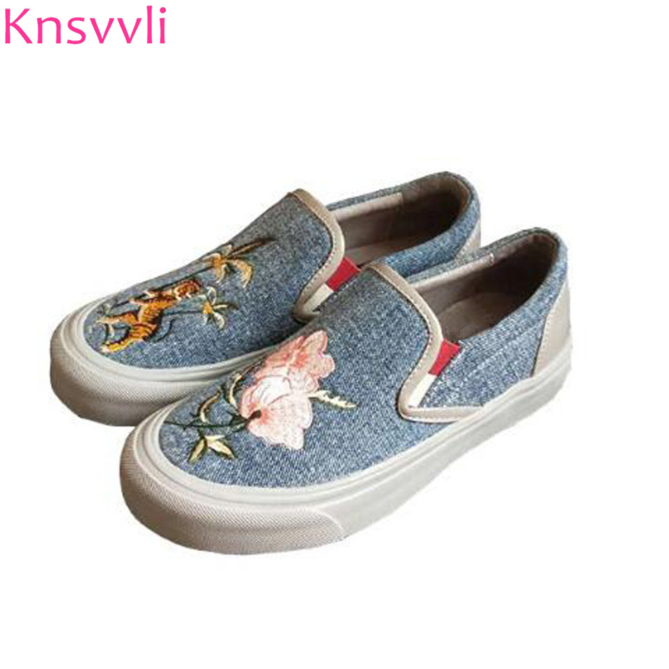 Embroidery Platform Loafers Lady Spring Newset Cowboy Blue Canvas Casual Round Toe Shallow Mouth Women Shoes  Slip On Lazy Shoes