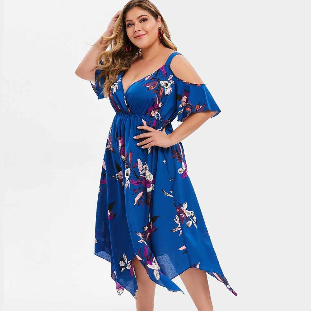 Wipalo Plus Size Short Sleeves Summer Boho Beach Dress Cold Shoulder Handkerchief Dress Floral Print Women Dress Vestidos Femme