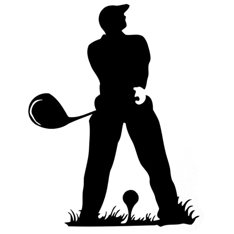12.8CM*16.7CM Fashion Golf Silhouette Fitness Sports Black/Silver Decal Vinyl Car Sticker Decor S9-0913
