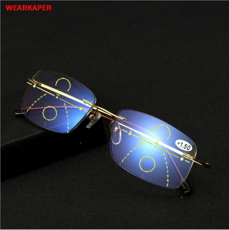 WEARKAPER New Titanium Alloy Anti-Blu-ray Smart Progressive Reading Glasses Presbyopic Eyewear Multifocal Eyeglasses Diopter 1-3
