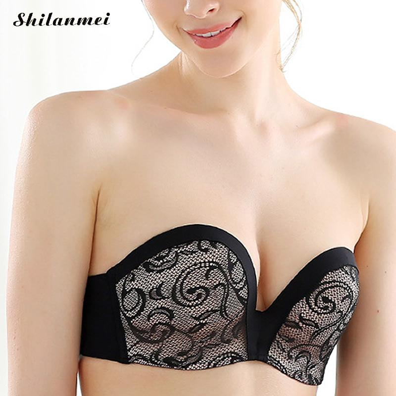 Push Up Soutient Gorge Invisible Bra Women Bralette Tube Strapless Self Adhesive Backless Bras for Women Wedding Evening Dresses