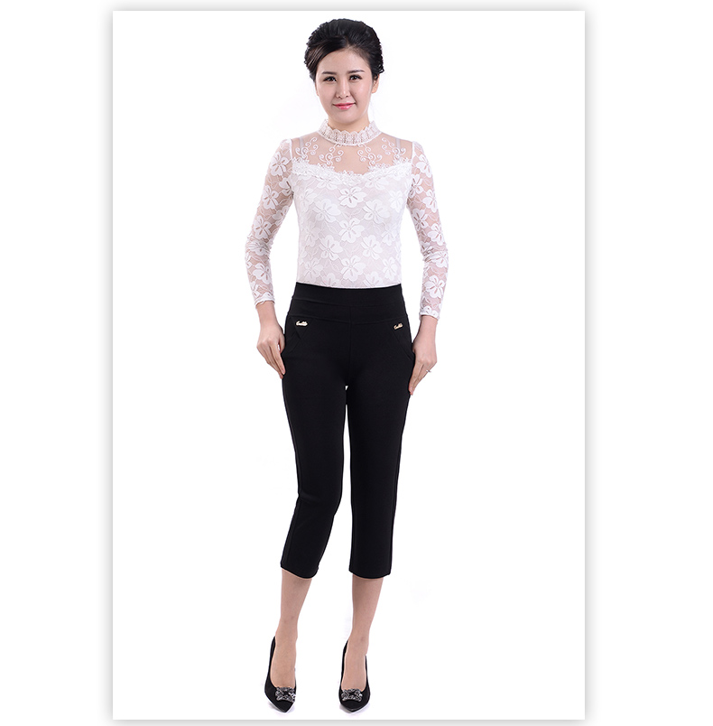 Woman Spring Plus Size Calf-length   Pants   Female Summer Thin Stretch Trousers Women Breathable   Pant   Lady High   Capris   Lady Trouser