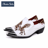 Christia Bella New British White Genuine Leather Men Shoes Height Increasing Wedding Party Dress Shoes Business Men Brogue Shoes