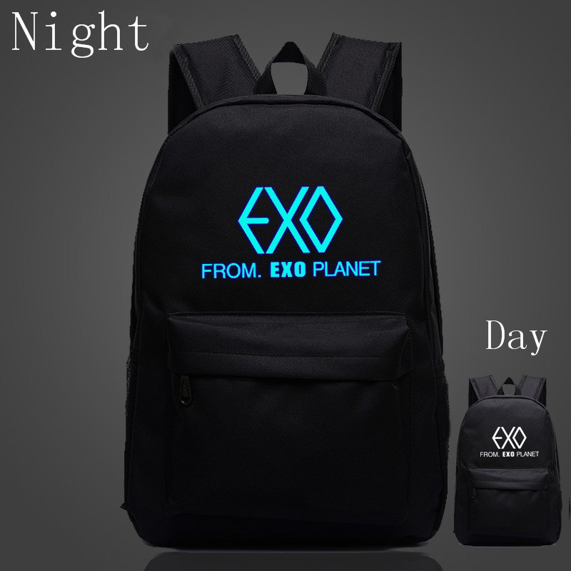 цена на 2017 Korean New Fashion EXO Bags School Backpack For Teenage Girls Fans Casual Luminous Backpacks Travel Bag Mochila Feminina