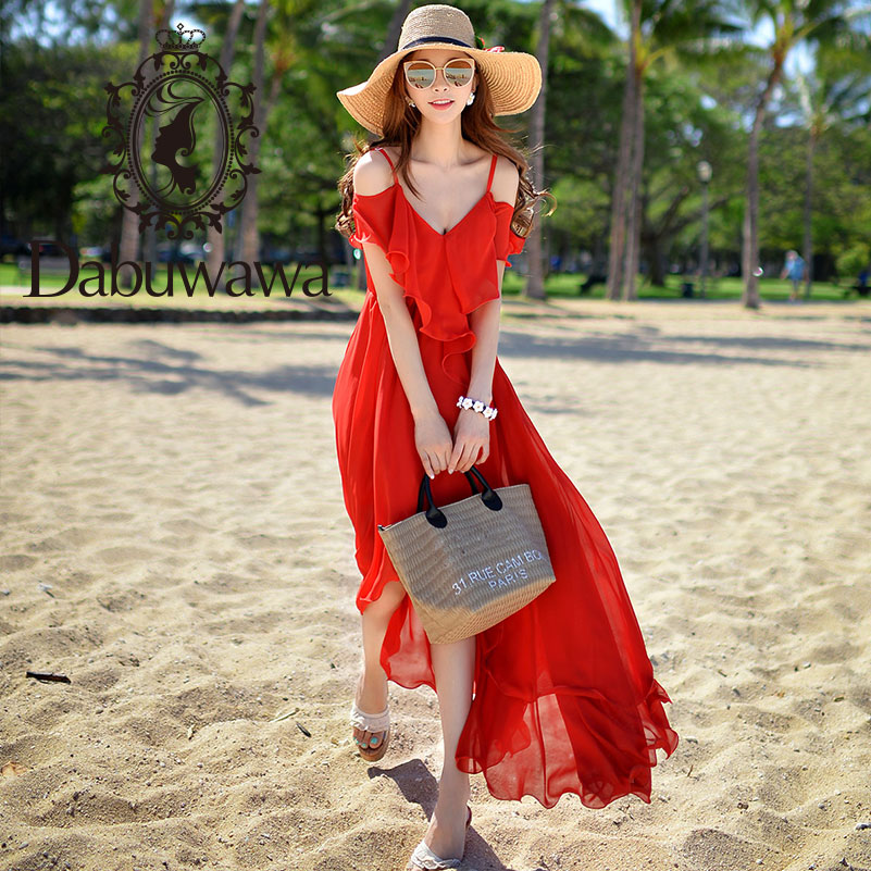 Dabuwawa Summer Red Sexy Off Shoulder Beach Maxi Dress for Girls Lady Woman 2019 Holiday Chiffon