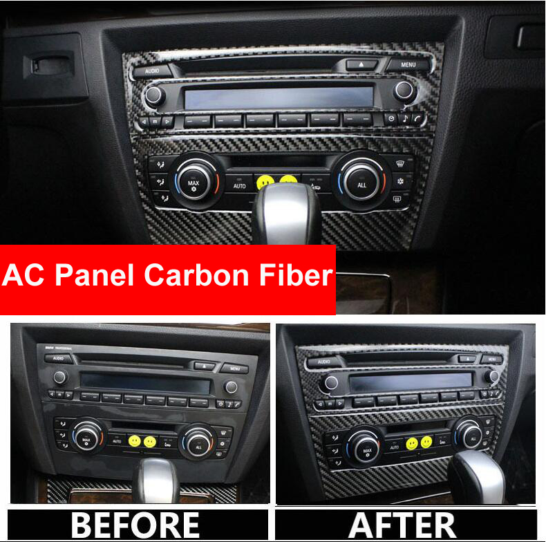 For <font><b>BMW</b></font> <font><b>E90</b></font> <font><b>Carbon</b></font> <font><b>Fiber</b></font> Strip Air Conditioning CD Panel Decorative Cover Trim Auto <font><b>Interior</b></font> Accessories Car Styling 3D Sticker image