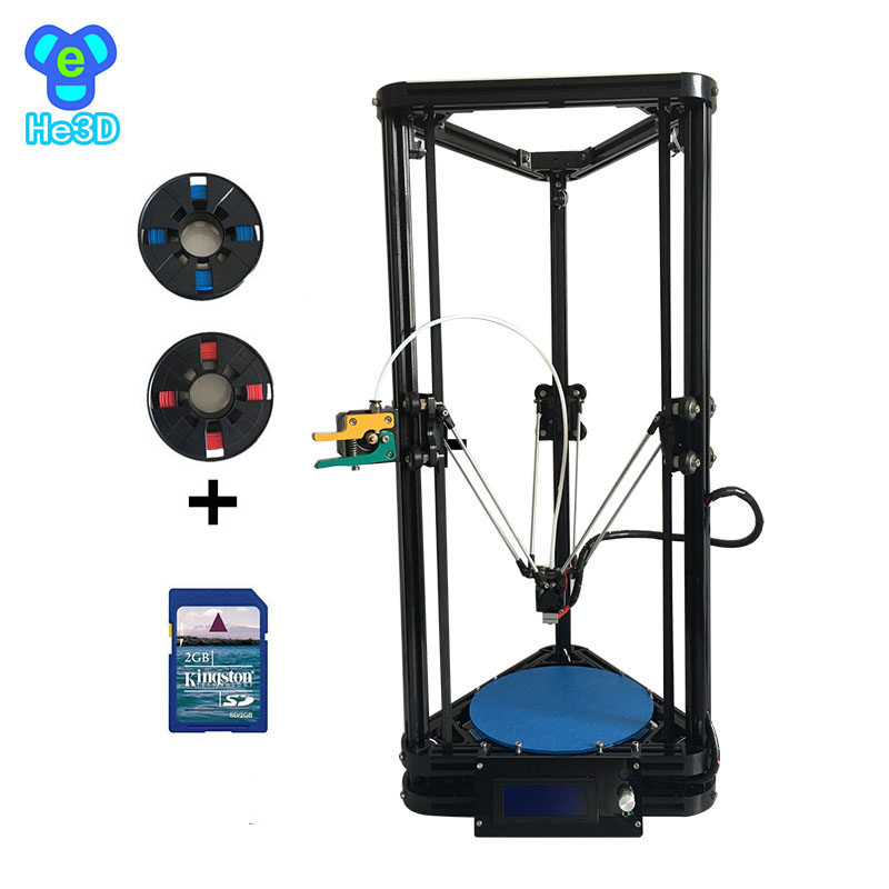HE3D reprap auto bed leveling K200 delta 3d printer kit_ heat bed optional_two rolls of filament fo for your gift
