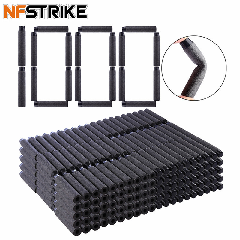 NFSTRIKE 1000pcs Soft Bullets Soft Darts For Nerf Toy Gun Soft Bullets Blaster Soft Hollow Hole Head Foam Bullet 7.2*1.3cm Black