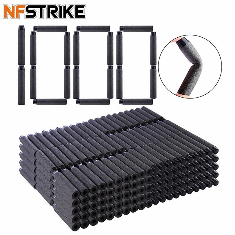 NFSTRIKE 1000pcs Soft Bullets Soft Darts For Nerf Toy Gun Soft Bullets Blaster Soft Hollow Hole Head Foam Bullet 7.2*1.3cm Black