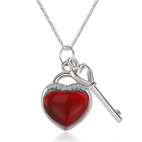 925 Sterling Silver Necklace Heart Key With Small Key Pendant Necklace AAA Crystal Zircon Charm Jewelry