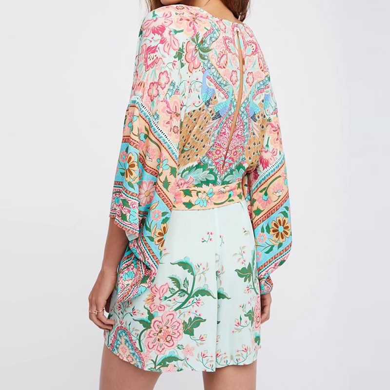bc0a36948fc7 ... Boho Chic Summer Vintage Peacock Floral Print Sashes Playsuits Women  2019 Fashion V Neck Kimono Sleeve ...