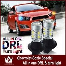 Señor de la noche Para Chevrolet Snoic PY21W BAU15S lámpara led de dirección Frente Señales de Vuelta de luz y DRL todo en uno