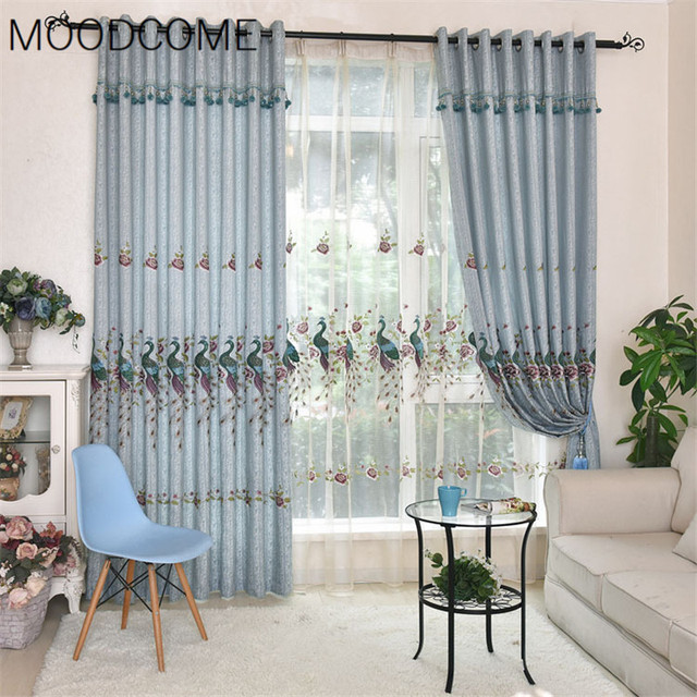 Classical Chinese Wind Peacock Embroidery Curtains For Living Dining Room  Bedroom