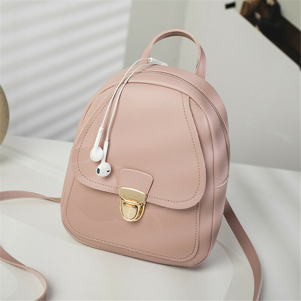 Japanese Women's Backpack Mini Bag Casual Simple Solid Color Faux Leather Placak Canta Shoulder Bag