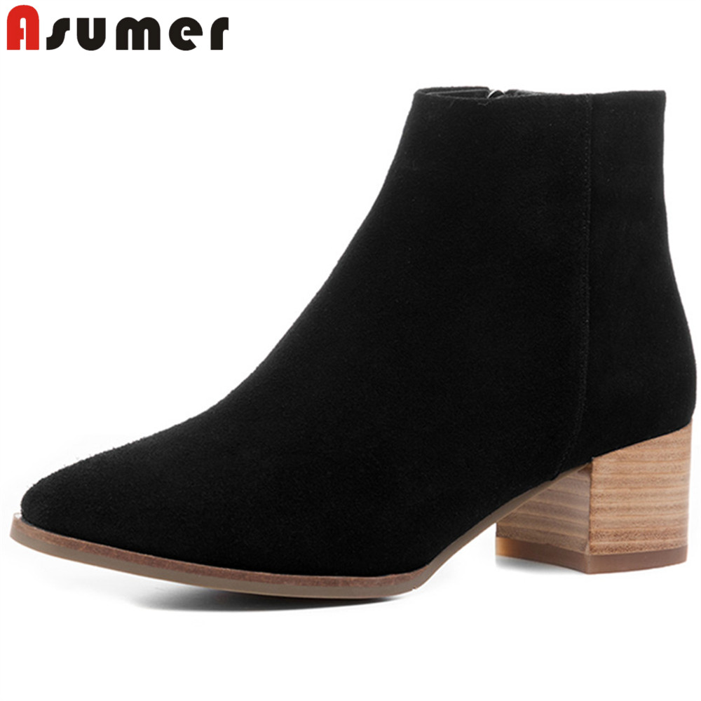 ASUMER 2018 fashion spring autumn shoes woman square toe zip square heel women high heels boots black suede leather ankle boots купить в Москве 2019