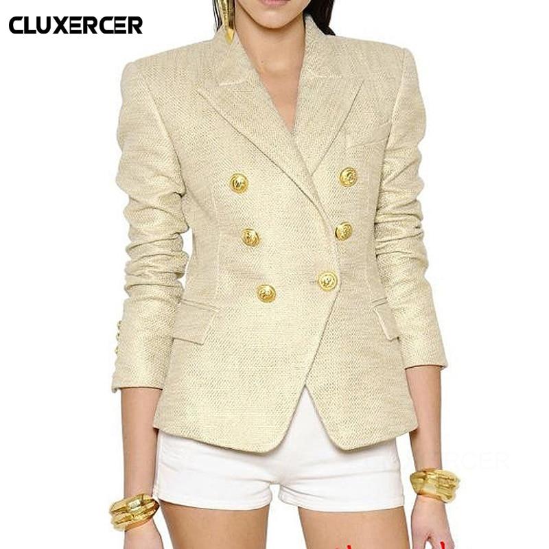 Blazer Feminino 2019 NEW Classic Designer Blazer Jacket Women's Lion Metal Buttons Double Breasted Gold Blazer Outer