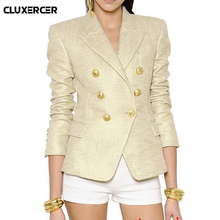 Blazer feminino 2019 NEW Classic Designer Jacket Womens Lion Metal Buttons Double Breasted Gold Outer